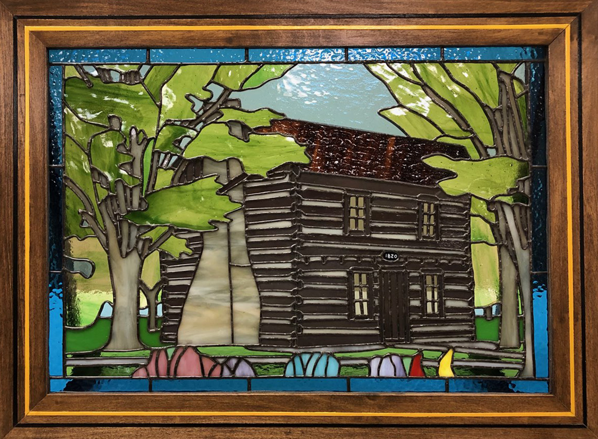 Log Cabing Stained Glass